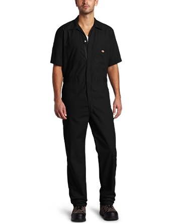 Dickies Men's Short Sleeve Coverall, Black, Small Regular