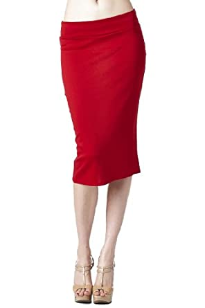 Women'S Ponte Roma From Office Wear to Casual Below Knee Pencil Skirt - Red S