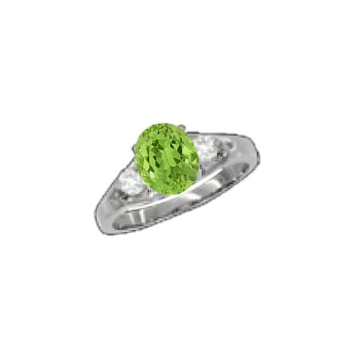 0.84 CT Oval Green Peridot Diamond Sterling Silver Ring