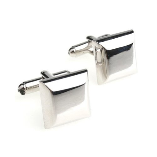 Beour White-Gold-Plated-Silver Copper Alloy Cube Cufflinks