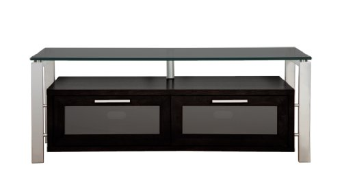 Plateau Décor 50 (B)-S-Bg Enclosed Cabinet Audio / Video Stand, Black Oak With Silver Metal Frame And Black Glass