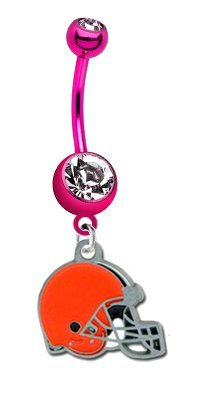 Cleveland Browns NFL PREMIUM Pink Titanium Anodized Sexy Belly Navel Ring at Amazon.com