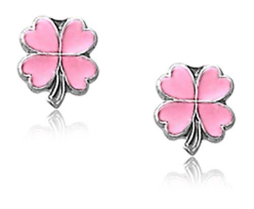 Children's Sterling Silver Pink Shamrock Four Leaf Clover Safety Earrings