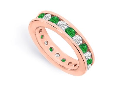 Cz Eternity Bands With Emerald Created Two Carat In 14K Rose Gold Vermeil Channel Set