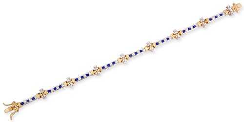 Two-Tone Round Channel Set C.Z. Sapphire Diamond Bracelet (Nice Holiday Gift, Special Black Firday Sale)