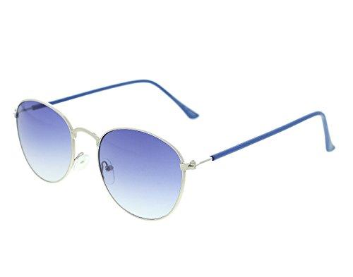 Vast UV Protected Round Unisex Sunglasses (twice_Round_METAL_SILVER_BLUE 51 Blue)