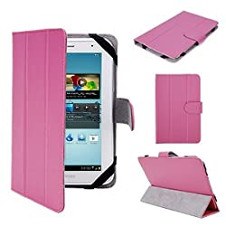 Pink Premium High Quality PU Luxury Synthetic Leather Folio Flip Fold Folding Magnetic Case Cover Protection Skin Triangle Stand Ultra Slim Thin For 7