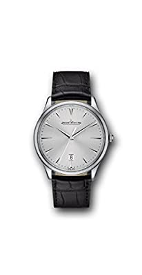 Jaeger LeCoultre Master Ultra Thin Date Silvered Sunray Brushed Dial Black Leather Mens Watch Q1288420