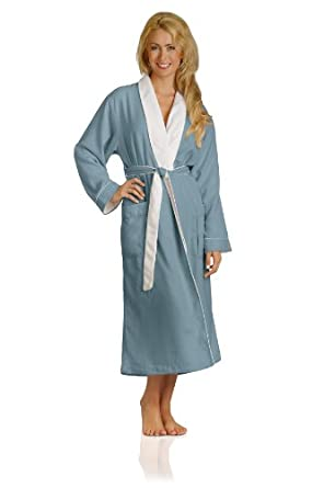 Luxury Spa Robe - Microfiber with Cotton Terry Lining, Aqua, X-Small