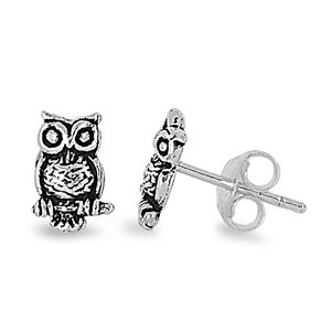 Sterling Silver Owl Stud Earrings - 8mm
