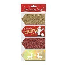 pack-of-20-luxury-christmas-xmas-tags-cards-luggage-style-red-gold-glitter-foil