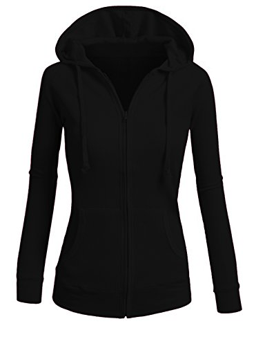 ViiViiKay Womens Casual Warm Thin Thermal Knitted Solid Zip-Up Hoodie Jacket BLACK (Thermal Hoodie Womens compare prices)