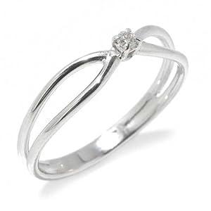 Gioie Bague Femme en Or 18 carats Blanc avec Diamant H/SI (total diamants 0.03 ct), Taille 54, 1.8 Grammes