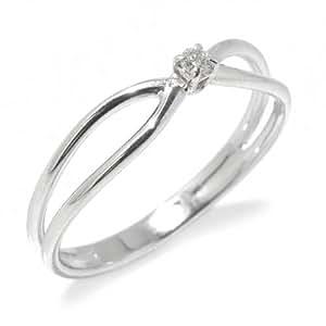Gioie Bague Femme en Or 18 carats Blanc avec Diamant H/SI (total diamants 0.03 ct), Taille 52, 1.8 Grammes
