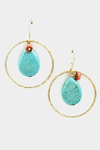 Trendy Fashion Jewelry Cable Circle With Tear Drop Gem Stone Dangle Earring By Fashion Destination | (Turquoise)