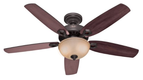 Hunter 53091 Builder Deluxe 5-Blade Single Light Ceiling Fan with Brazilian Cherry/Stained Oak Blades and Piped Toffee Glass Light Bowl, 52-Inch, New Bronze (Fans Hunter compare prices)