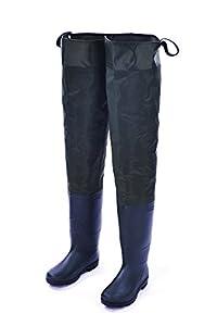 Hisea Nylon Wathosen Wasserdicht Watschuhe Anglerhose Kautschukstiefeln, Schuhgröße 43