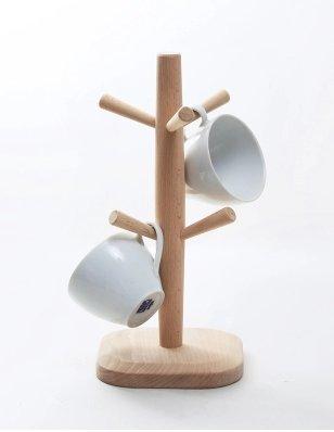 Wood Mug Rack/ 6 Cup Holders