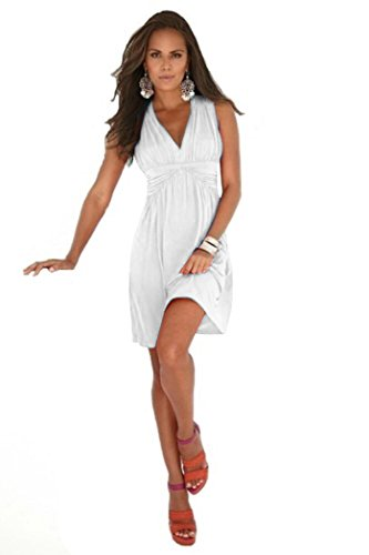 Charm Your Prince Women's Sleeveless Summer White Sundress M
