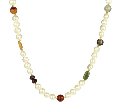 White Freshwater Cultured Baroque Pearl and Earthy Gemstone Necklace, 20