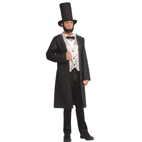 Lets Party Abe Lincoln Adult Costume / Black - Size Standard