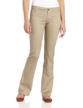 Dickies Girl Junior's Worker Bootcut Pant with 2 Back Pockets,Khaki,1