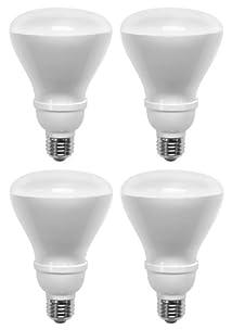 TCP 6R3014B4 CFL Covered R30 - 65 Watt Equivalent (only 14W used) Soft White (2700k) Covered Flood Light Bulb - 4 pack