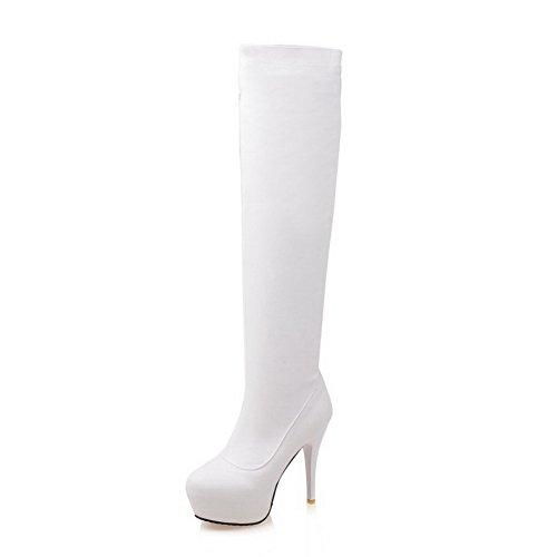 AllhqFashion Donna Punta Tonda Tacco A Spillo Alta Altezza Puro Stivali con Pizzo, Bianco, 36