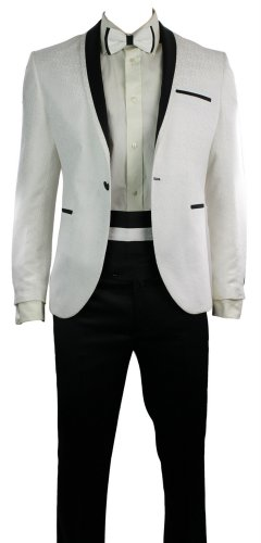 Mens Slim Fit Dinner Suit Wedding Party Cream & Black Emroydery Pattern 4 Piece