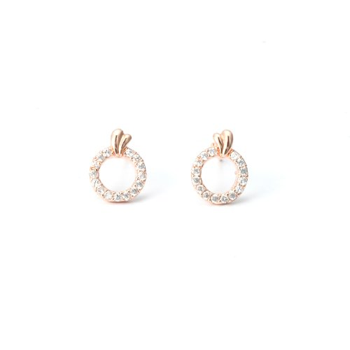 [Priva] dealings Smart CZ cubic zirconia tiny rings earrings women's pink