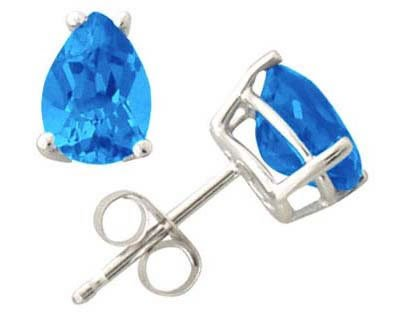 Pear Shape Blue Topaz Earrings in White Gold
