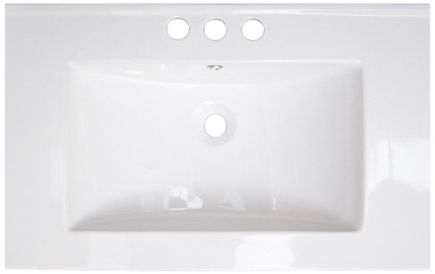 American Imaginations 411 24-Inch by 18-Inch White Ceramic Top with 4-Inch Centers
