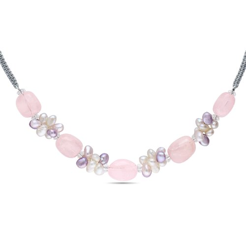 Rose and White Quartz and Freshwater Cultured Pearl Necklace, 16