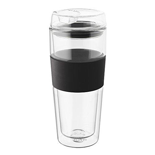 Takeya Double-Wall Glass Tea/Coffee Tumbler, 16-Ounce, Black (Glass Travel Coffee Mug compare prices)