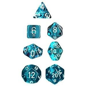 Polyhedral 7-Die Translucent Dice Set - Teal