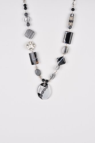 Glass and Other Beads Pendant Necklace in Black and White