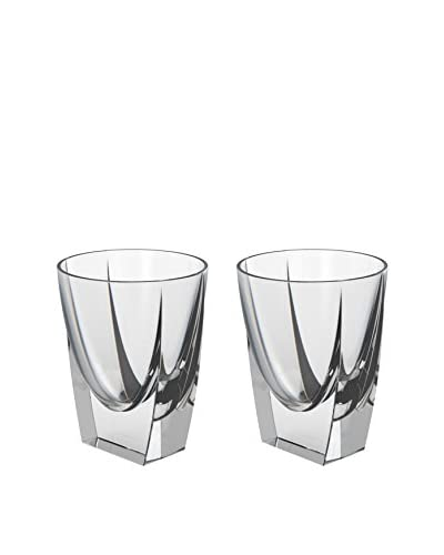 Nambe Crystal Set of 2 Klasp Double Old Fashioned 10-Oz. Glasses, Clear