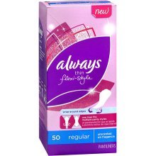 Always Pantiliners, Thin Flexi-Style, Regular, Unscented, 50 ct.