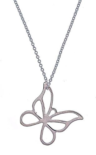 Sterling Silver Butterfly Pendant Necklace 24
