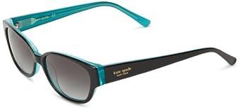 Kate Spade Halles Rectangular Sunglasses,Black Aqua,53 mm