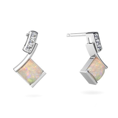 Jewels For Me 14K White Gold Square Genuine Opal Drop Earrings