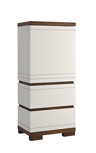 """Kommode """"Uricani"""" Nuss/Weiß 03, Turanschlag Rechts - Abmessungen: 60 x 138 x 42 cm (B x H x T)"""