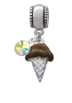 2-D Chocolate Ice Cream Cone European Charm Bead Hanger with AB Swarovski Cry...