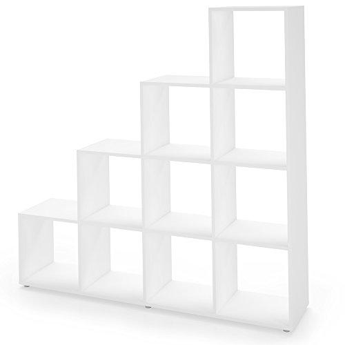 Regal-Treppenregal-Raumteiler-Stufenregal-Bcherregal-Aktenregal-Standregal-Wei-10-Fcher