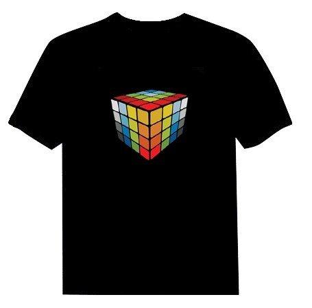Teelight® Magic Cube Led Sound Activated Equalizer Disco Nightclub Tshirt -- Size L