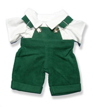 Green Overalls  White Top Outfit Teddy Bear Clothes
