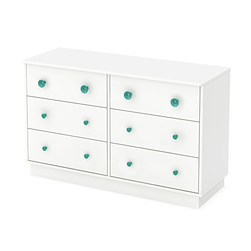 South Shore Little Monsters 6-Drawer Double Dresser, Pure White