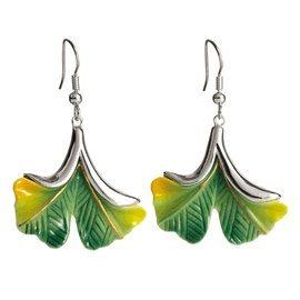Franz Porcelain Ginkgo flower Rhodium plated brass & porcelain earrings