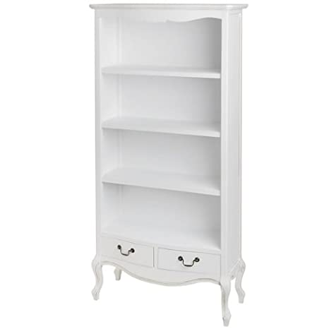 ANTIQUE FRENCH WHITE BOOKCASE SHELVING UNIT PARISIAN (H7304)