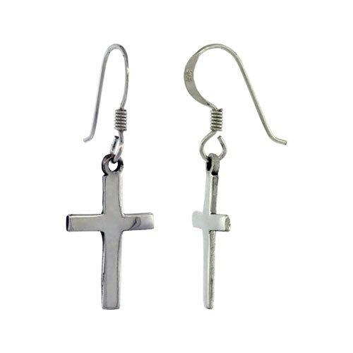 Sterling Silver Cross Dangle Earrings, 1 3/8 inch (35 mm) tall